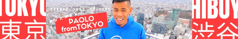 Photo Description: Paolo from Tokyo has a header with Japanese kana, a pic of himself, with the Japanese cityscape behind him.