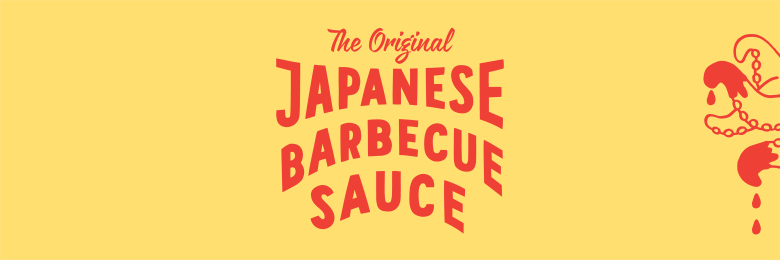"Photo Description: a yellow header for Bachan's ""The Original Japanese Barbecue Sauce."" the ""original"" is in an nostalgic cursive American script with the other font being a non-serif style. On the right are 4 octopus arms."