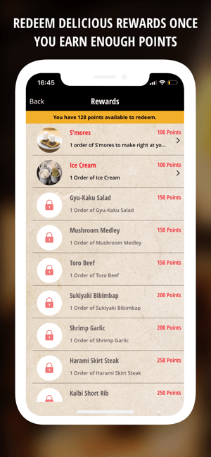 Photo Description: screenshot of the unlocked and locked items available. The image shows s'mores and ice cream for 100, the rest are locked.
