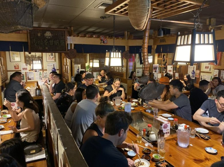 Photo Descriptions: the interior of Kappo Honda in Fountain Valley has a very rustic Japanese countryside look to it.
