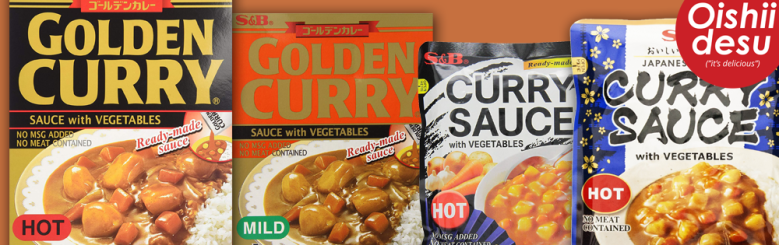 Photo Description: 4 packages of S&B curry, the one of the left is gold and black (hot), gold and orange (mild), and two no MSG packaging that are both hot.