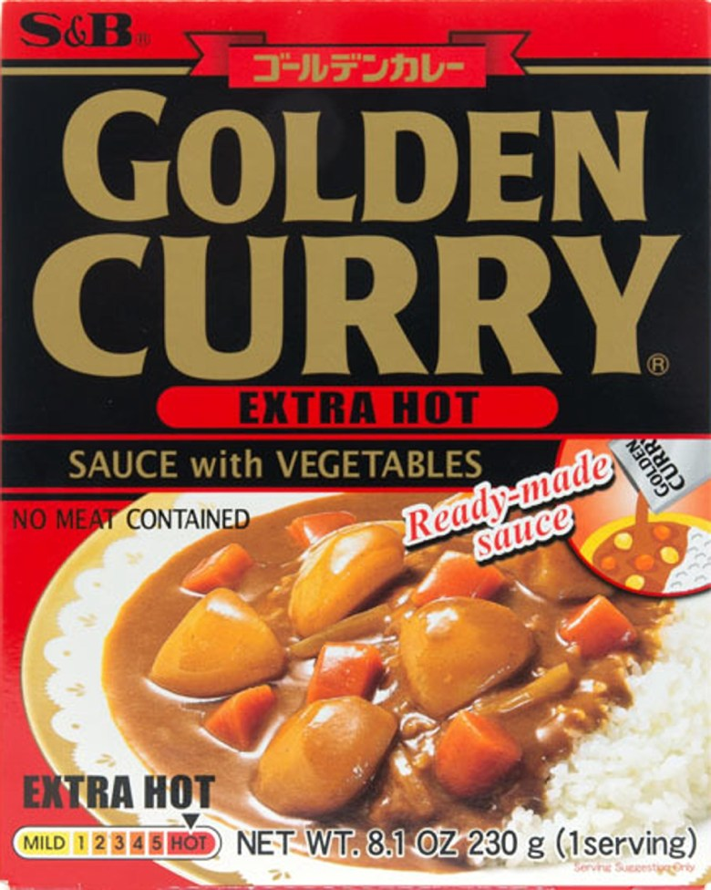 "Photo Description: S&B curry instant ready-made sauce. The packaging says ""Golden Curry, Extra Hot, sauce with vegetables, no meat contained."""