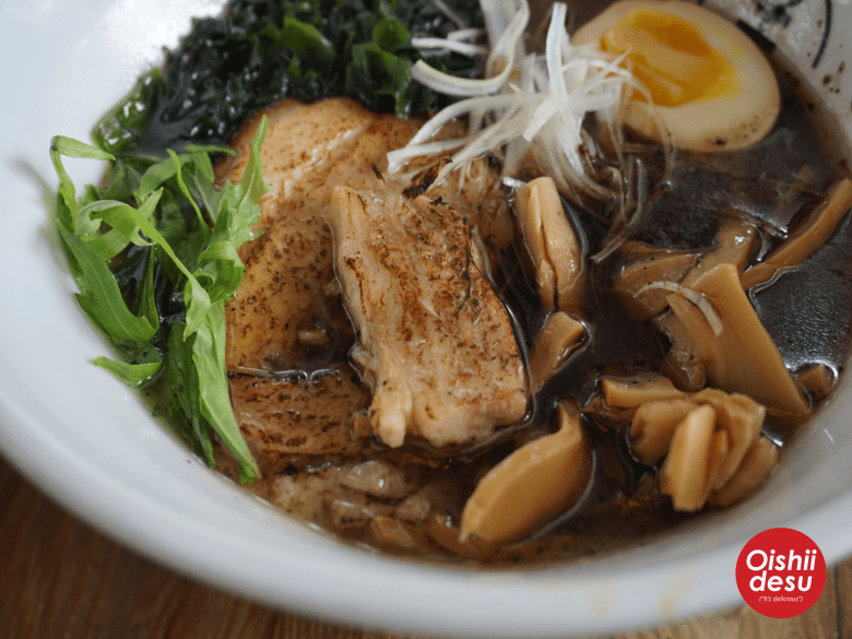 Photo Description: BESHOCK's concoction that they call ramen has a ton of thing in it that looks more like a salad than Japanese ramen because it has wakame, salad greens, and julienned spring onions.