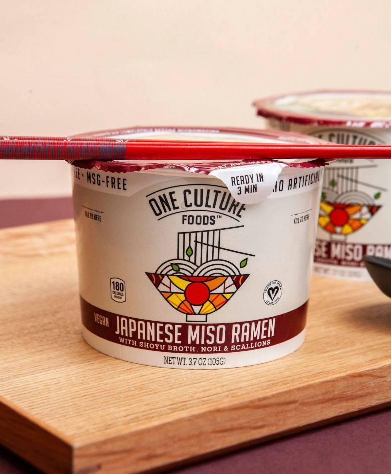 "Photo Description: One Culture Foods Japanese Miso Ramen (the label reas) ""with shoyu broth, nori, & scallions. Net wt. 3.7 oz (105g)."