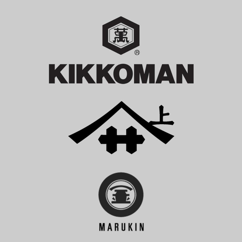 Photo Description: the Kikkoman (top), Yamasa (middle), and Marukin (bottom) logo.
