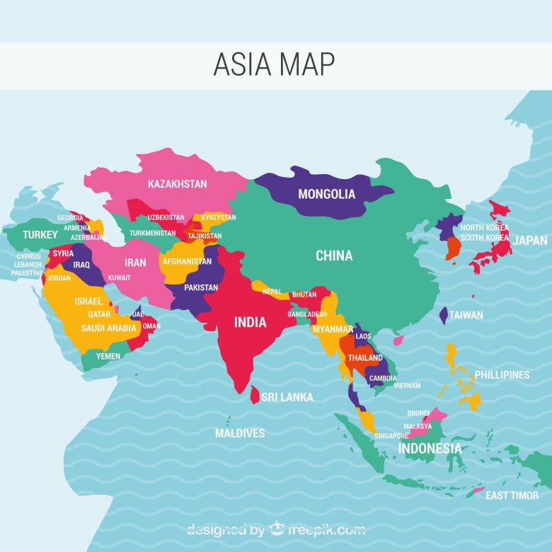 Photo Description: is of a map of every Asian country. Each country is colored to show the distinct borders of China, India, Mongolia, Thailand, Indonesia, Japan, to the Philippines.