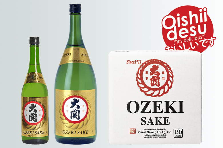 "Photo Description: Ozeki Junmai Sake is depicted. The 750ml, 1.5L, and 19L box sake are shown. The two smaller sizes are in green bottles with two gold labels, the Ozeki logo with a red stroked white circle, with a gold looking rope encircling the circle. The label in Japanese and English says ""Ozeki Sake""."