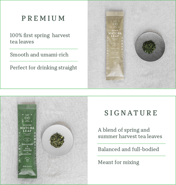 Photo Description: the product shots of their two offerings which consist of the premium and signature Cuzen Matcha packets.