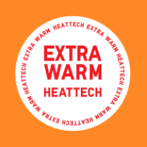 """Photo Description: A simple circular graphic with the words """"EXTRA WARM HEATTECH"""". (orange background)"""