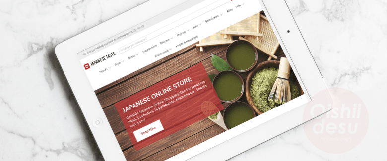 """Photo Description: The JapaneseTaste.com website screenshot. The white background with the featured image above the fold has an image of matcha tea set with whole tea leaves in the shot. The written copy says """"Reliable Japanese Online Shopping Site for Japanese food, cosmetics, supplements, kitchenware, snacks and more."""" Out of all the sites, this is site on where to buy Japanese food online."""