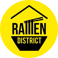 Photo Description: the Ramen District round logo which is on a yellow background with a black icon of a bowl and chopsticks and a noodle pull.
