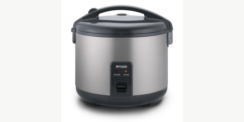 Photo Description: a picture of the stainless steel Tiger JNP-S rice cooker.
