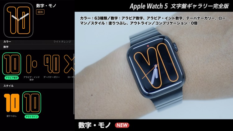 Apple Watchの文字盤 数字・モノ