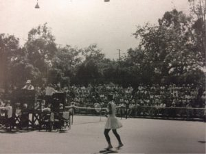 Scene at the 57th annual Tennis Tournament...note capacity crowd.