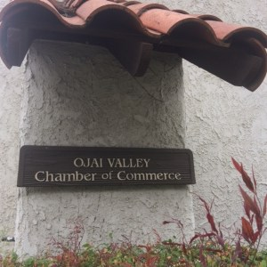 This sign is posted facing East Aliso Street even though the Ojai Valley Chamber of Commerce is located at 206 N. Signal St., #P in downtown Ojai, California. That's because it's in a complex that houses several business offices.