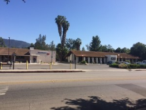 From left to right: Bank of America, Cattywampus Craft Ojai, Beacon Coffee on the south side of Ojai Avenue in downtown Ojai. Security Pacific Bank was originally housed in the Bank of America building. The building which houses Cattywampus Craft Ojai and Beacon Coffee used to house Loop's Restaurant. These lots used to be where Constable Andy Van Curren's home, and the jail the built, were located.