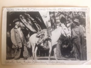 Bill Herbert (left) and Howard Bald (right) at the Pine Mountain Lodge in about 1914. Erle Stanley Gardner took the photo while the three were on a deer hunting trip.