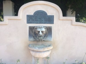 Lion head fountain on the street side of the pergola, 2017,