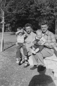 FROM LEFT to RIGHT: Drew, Jewell, Mitch and Harold Mashburn at Jewell's (Harold's mother) S. Lomita Avenue home in Meiners Oaks. This photo was taken on the morning of New Year's Day 1954.