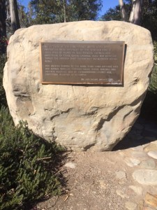 "This large boulder with its bronze plaque was set at the ""Y"" intersection to honor the firefighters that worked to save the Ojai Valley from the 1985 Wheeler Canyon Fire."