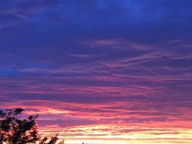 家から見えた夕陽に感動