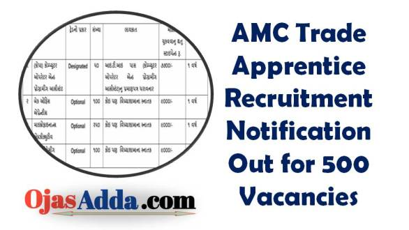 AMC Trade Apprentice Recruitment Notification Out for 500 Vacancies