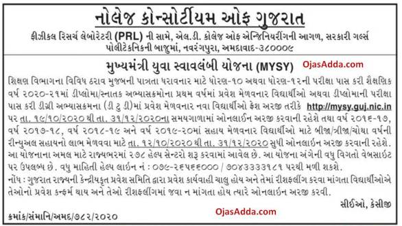 Mukhyamantri Yuva Swavalamban Yojana (MYSY) Online Application Started @mysy.guj.nic.in