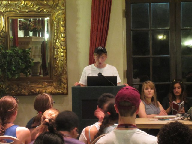 Dustin enthralls the delegation with last night's minutes.