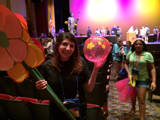 Kelly of Westlake with the 1st place spirit prize - which she gave to Adam Sichel at fellowship for his enthusiastic work