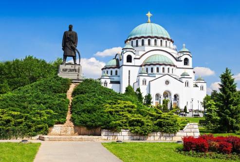 Sava Cathedral and Karadjordje statue