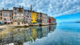 Fishing port of the ancient village Rovinj on the Adriatic sea in the North coast of Croatia.