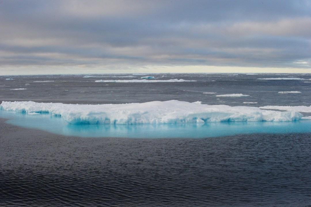 Trozos de hielo al norte de Canadá en una imagen tomada en setiembre del 2015, cuando el deshielo ártico permitió el paso de barcos en una zona usualmente cerrada a este tránsito.