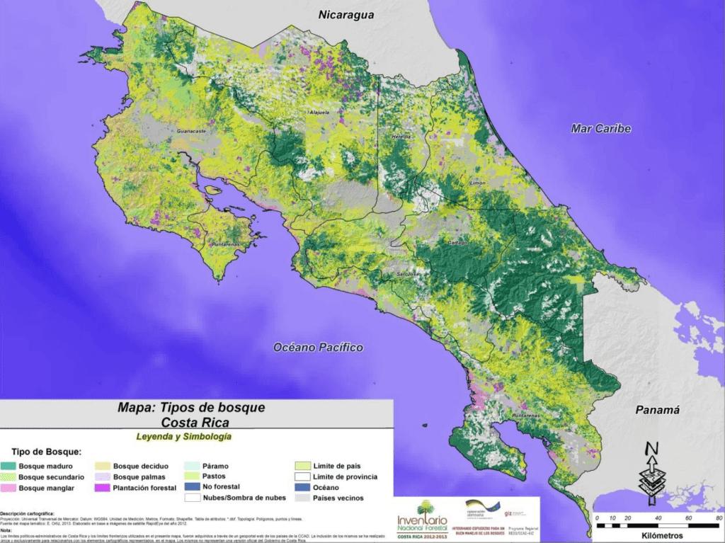 Así se ve el mapa forestal de Costa Rica, desarrollado de manera paralela al Inventario Forestal Nacional 2014-2015.