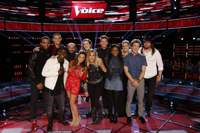 "THE VOICE -- ""Live Playoffs"" Episode 1012C -- Pictured: (l-r) Bryan Bautista, Nick Hagelin, Paxton Ingram, Laith Al-Saadi, Alisan Porter, Emily Keener, Mary Sarah, Daniel Passino, Shalyah Fearing, Hannah Huston, Owen Danoff, Adam Wakefield -- (Photo by: Trae Patton/NBC)"