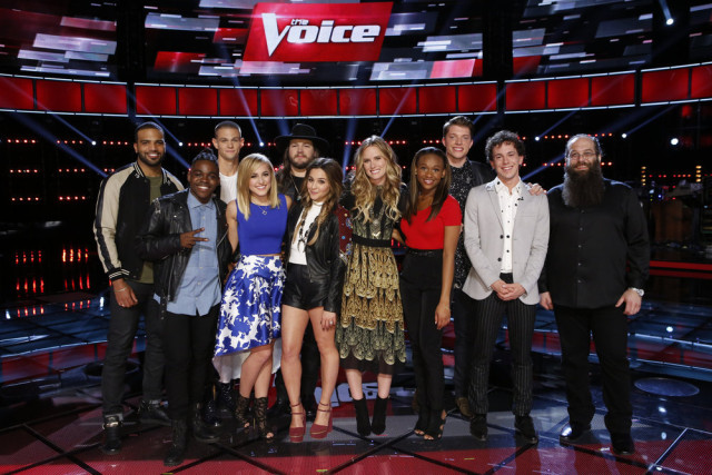 The Voice 10 Recap Top 12 Results -- Pictured: (l-r) Bryan Bautista, Paxton Ingram, Nick Hagelin, Mary Sarah, Adam Wakefield, Alisan Porter, Hannah Huston, Shalyah Fearing, Daniel Passino, Owen Danoff, Laith Al-Saadi -- (Photo by: Trae Patton/NBC)