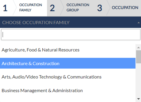 Occupation Family Selection