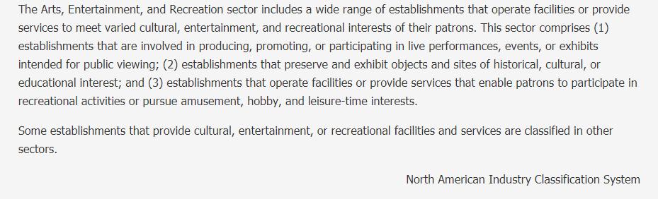 Arts, Entertainment, and Recreation Description