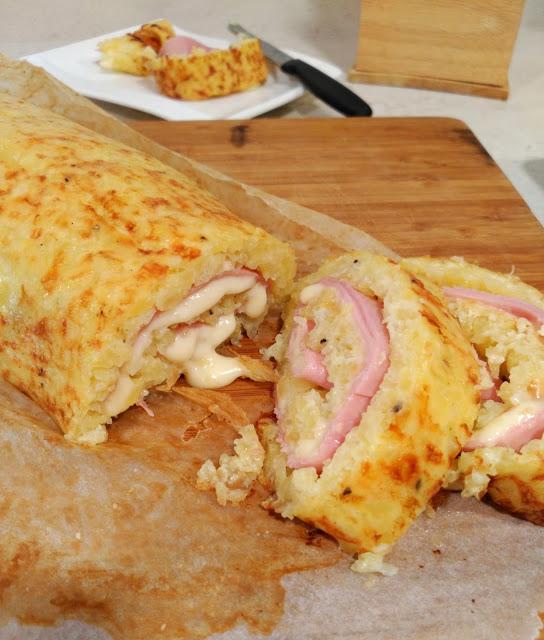 Brazo de patata relleno de jamón