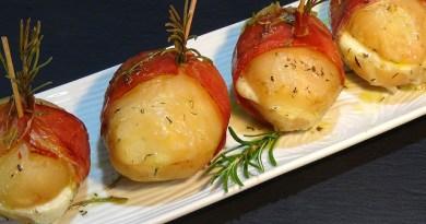 Patatas rellenas con jamón serrano