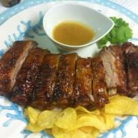 Costillas de cerdo con salsa de mostaza y miel