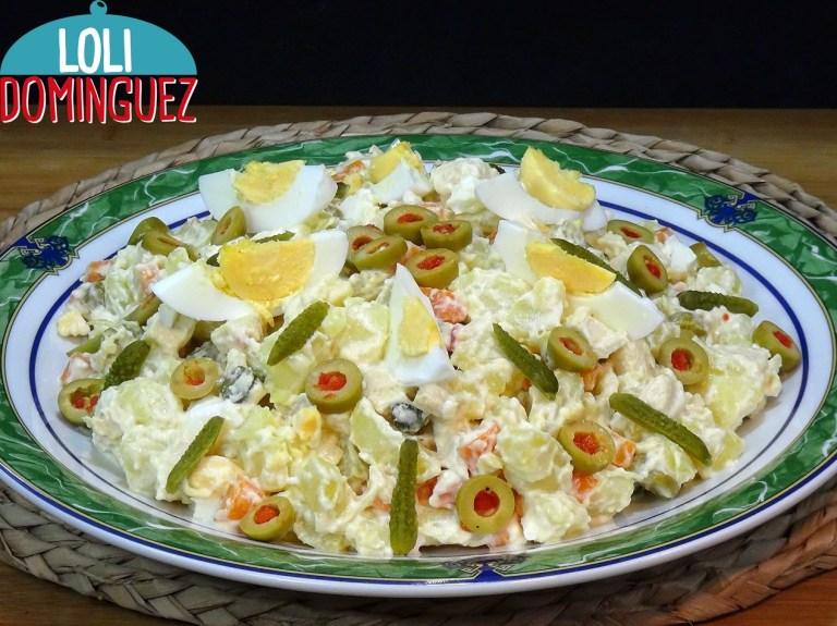 Ensaladilla de patatas y pollo con mayonesa sin huevo
