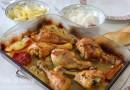Pollo al horno con arroz y patatas