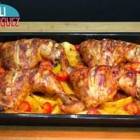 Pollo asado estilo turco con patatas y cebolla