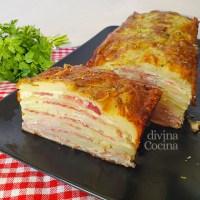 Pastel de patatas con jamón y queso