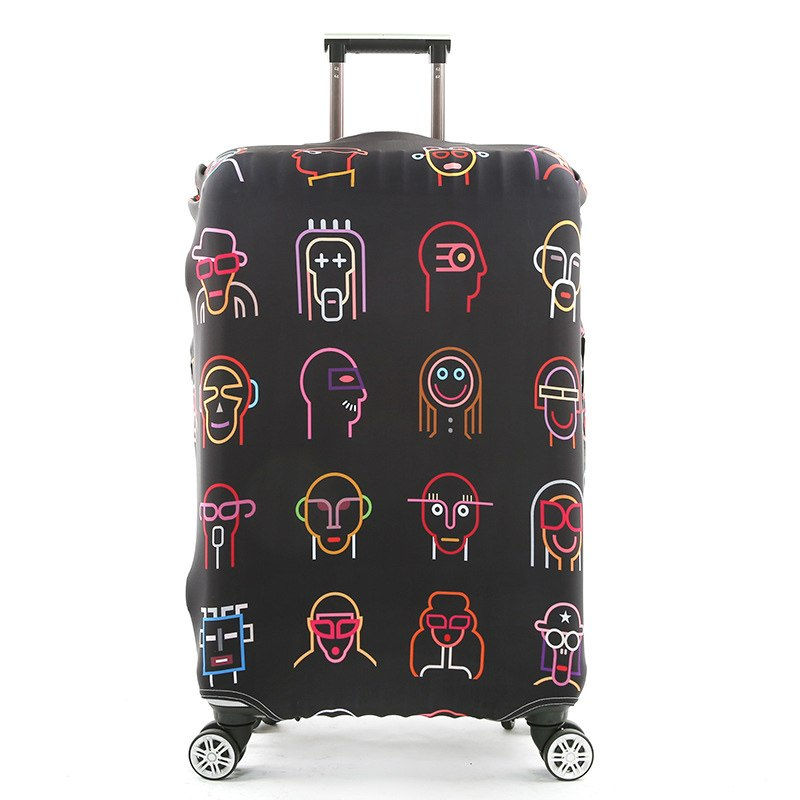 Cute 3D Merry Christmas With Star Reindeer Pattern Luggage Protector Travel Luggage Cover Trolley Case Protective Cover Fits 18-32 Inch