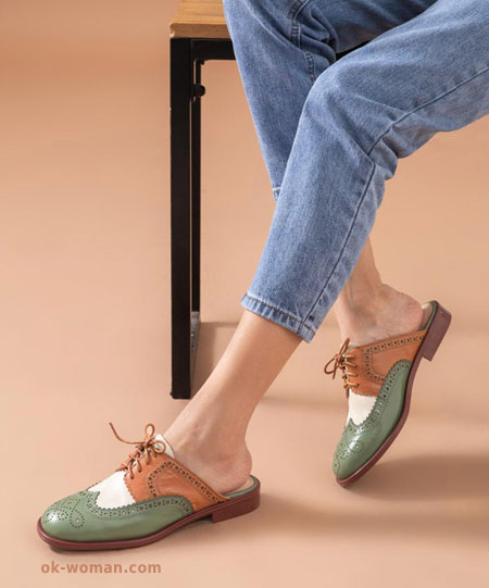 Women's Mules Clogs Genuine Leather Mixed Colors Retro