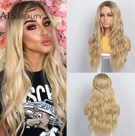 Long Wavy Womens Wig Natural Part Side Hair Ombre Synthetic Wigs Platinum/Blonde/Black Wigs Heat Resistant for Women