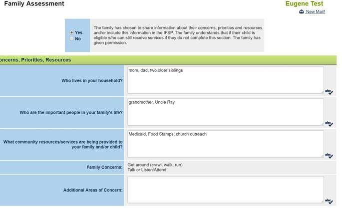 Family Assessment Chart