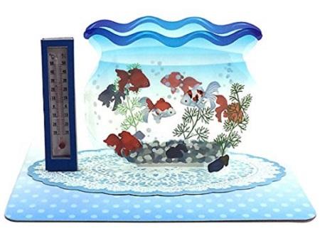 夏カード 温度計付き立体カード 金魚鉢 サンリオ