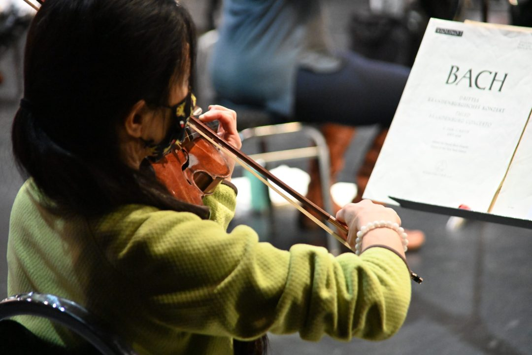 From behind, a woman wearing a green sweater and playing violin with Bach on a music stand